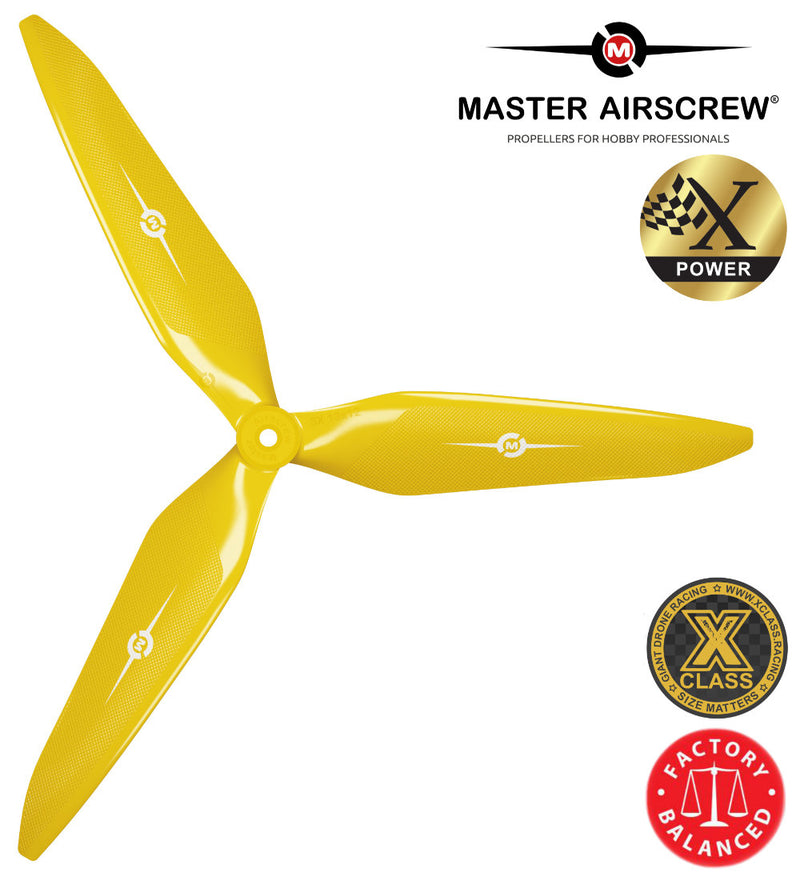 3X Power - 13x12 Propeller (CCW) Yellow - Master Airscrew - Drone and Model Airplane Propellers