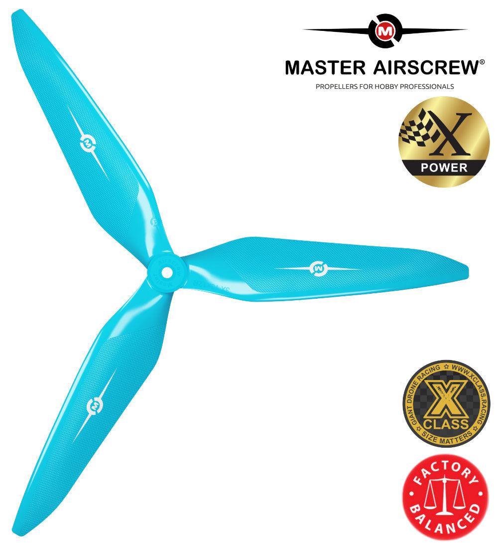 3X Power - 13x12 Propeller (CW) Rev./Pusher Blue - Master Airscrew - Drone and Model Airplane Propellers