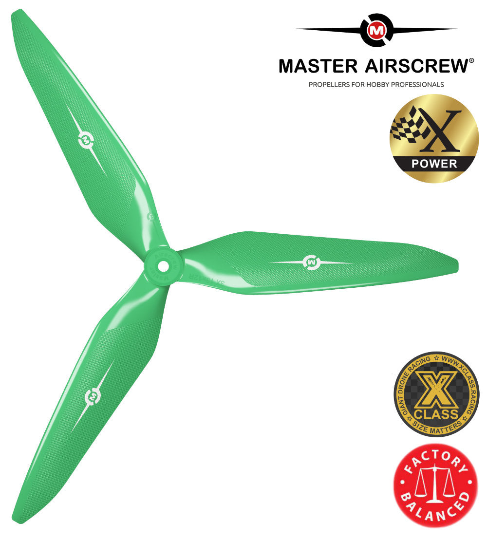 3X Power - 13x12 Propeller (CW) Rev./Pusher Green - Master Airscrew - Drone and Model Airplane Propellers