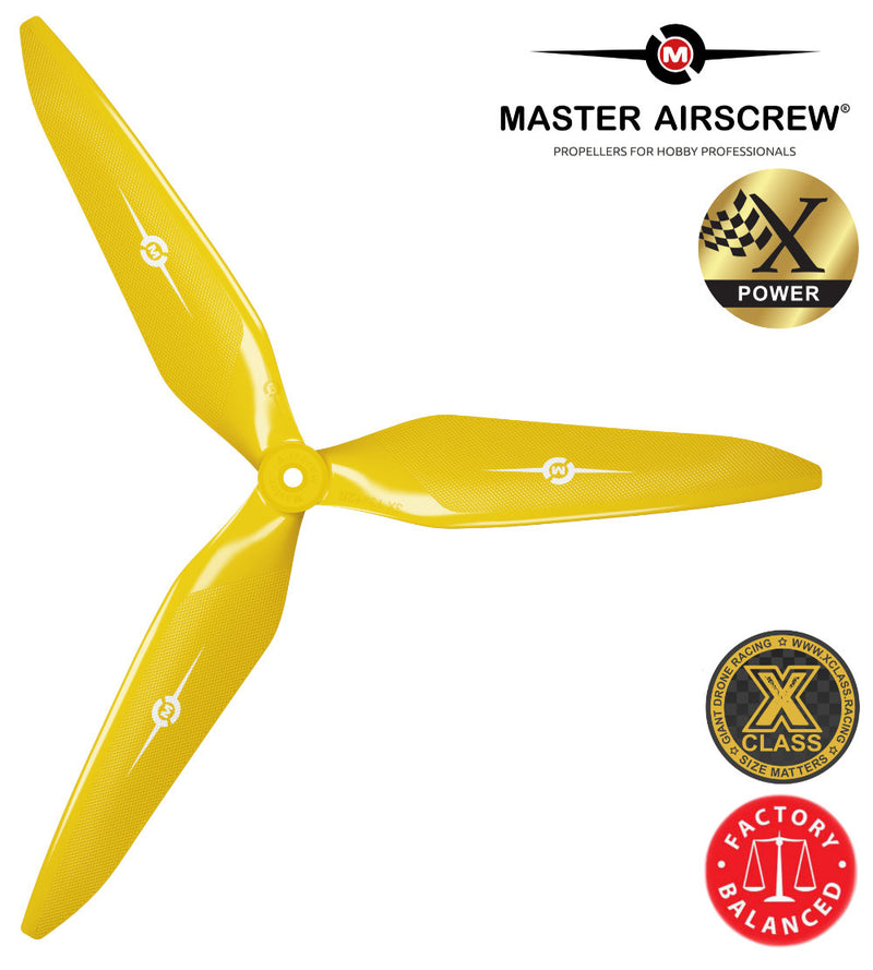 3X Power - 13x12 Propeller (CW) Rev./Pusher Yellow - Master Airscrew - Drone and Model Airplane Propellers