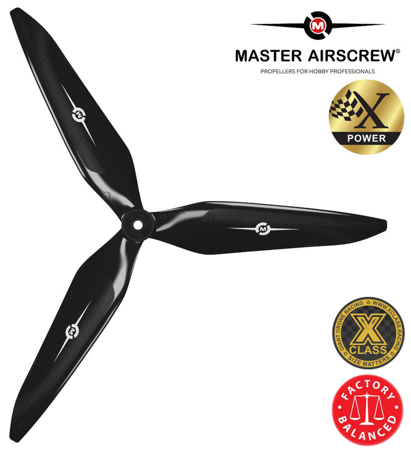 3X Power - 13x12 Propeller (CCW) Black - Master Airscrew - Drone and Model Airplane Propellers