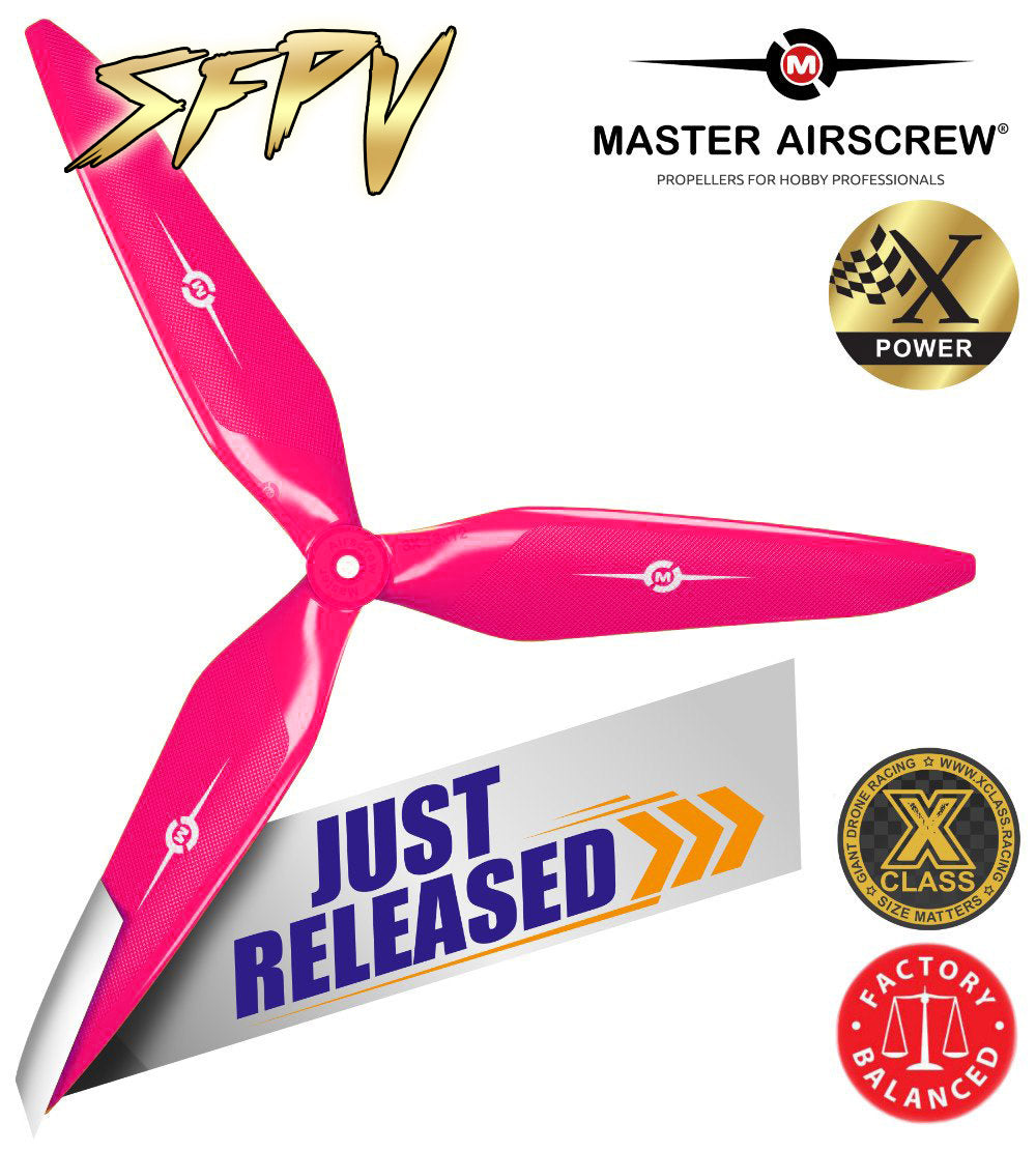 3X Power - 13x12 Propeller (CCW) Pink SFPV - Master Airscrew - Drone and Model Airplane Propellers
