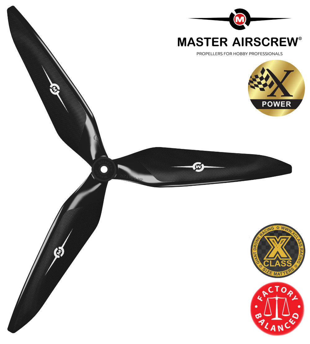 3X Power - 13x12 Propeller (CW) Rev./Pusher Black - Master Airscrew - Drone and Model Airplane Propellers