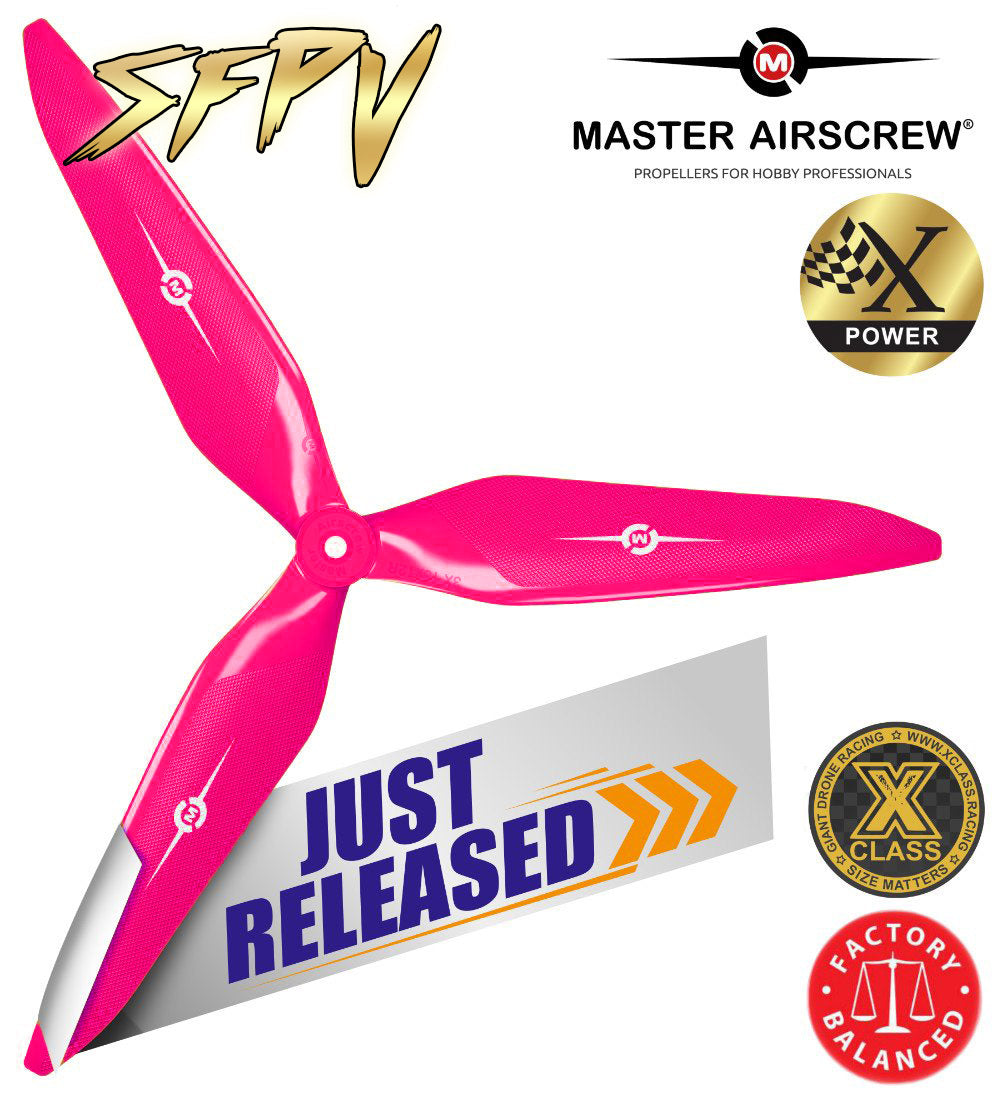 3X Power - 13x12 Propeller (CW) Rev./Pusher Pink SFPV - Master Airscrew - Drone and Model Airplane Propellers