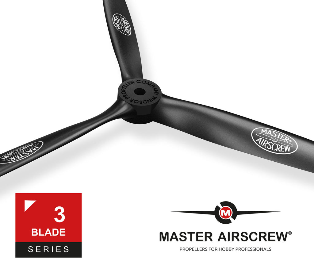 3-Blade - 9x7 Propeller Rev./Pusher - Master Airscrew - Model Airplane / Drone Propellers