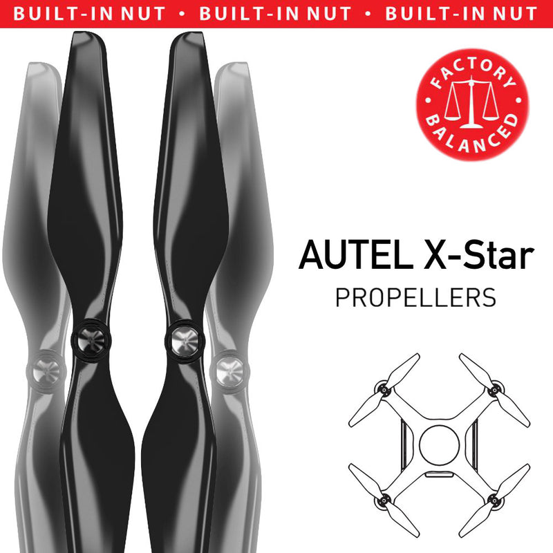 AUTEL X-Star Built-in Nut Upgrade Propellers - MR AU 9.4x5 Set x4 Black - Master Airscrew - Drone and Model Airplane Propellers