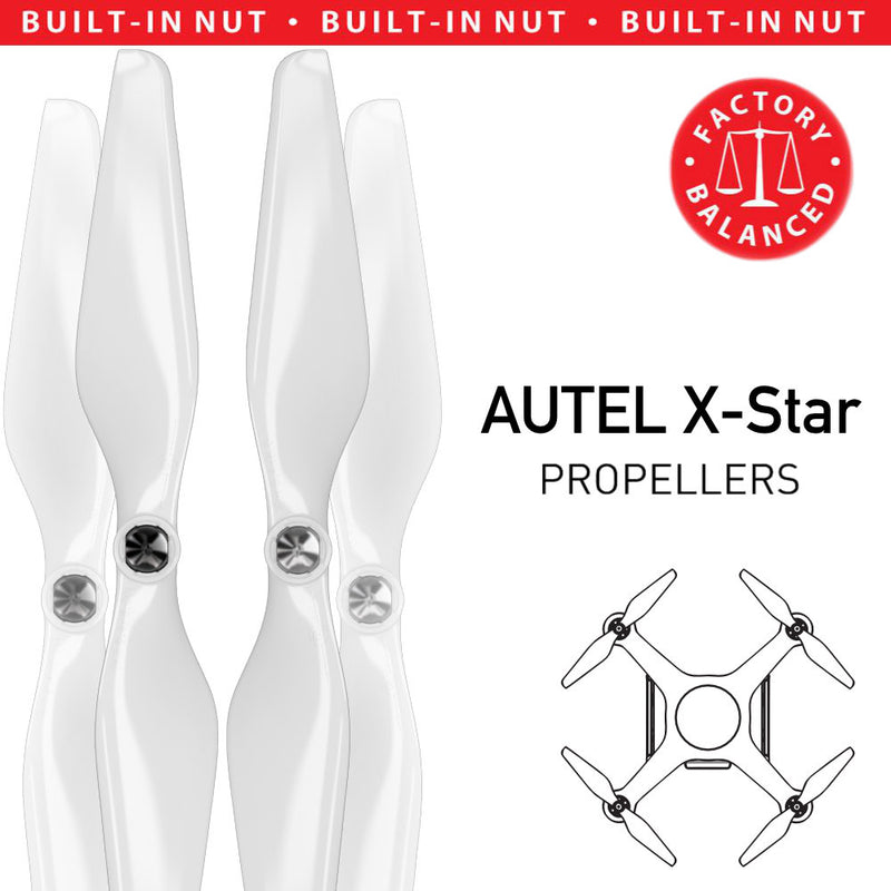 AUTEL X-Star Built-in Nut Upgrade Propellers - MR AU 9.4x5 Set x4 White - Master Airscrew - Drone and Model Airplane Propellers