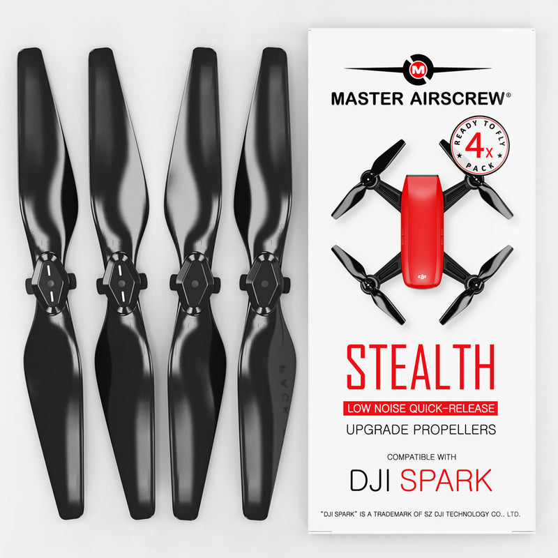 DJI Spark STEALTH Upgrade Propellers - x4 Black - Master Airscrew - Drone and Model Airplane Propellers