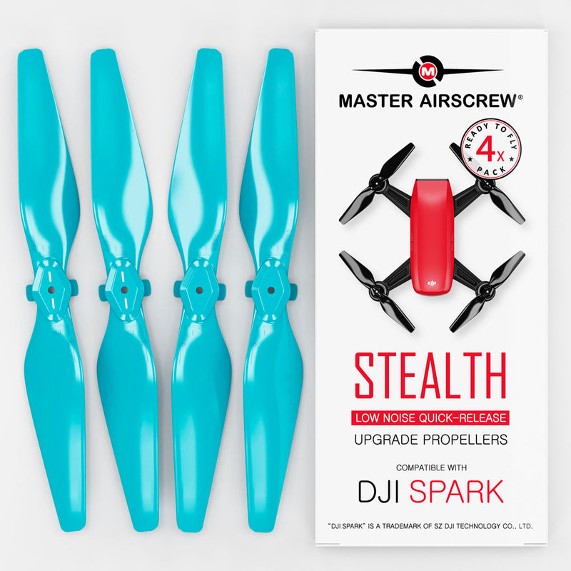 DJI Spark STEALTH Upgrade Propellers - x4 Blue - Master Airscrew - Drone and Model Airplane Propellers