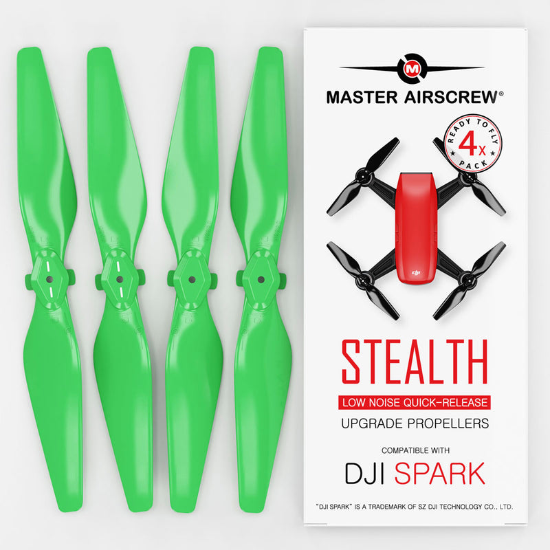 DJI Spark STEALTH Upgrade Propellers - x4 Green - Master Airscrew - Drone and Model Airplane Propellers