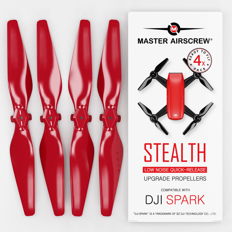 DJI Spark STEALTH Upgrade Propellers - x4 Red - Master Airscrew - Drone and Model Airplane Propellers