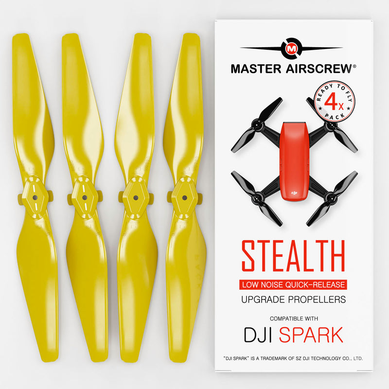 DJI Spark STEALTH Upgrade Propellers - x4 Yellow - Master Airscrew - Drone and Model Airplane Propellers