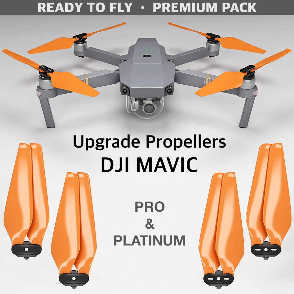 DJI Mavic Pro & Platinum STEALTH Upgrade Propellers - x4 Orange - Master Airscrew - Multi Rotor/ Model Airplane Propellers