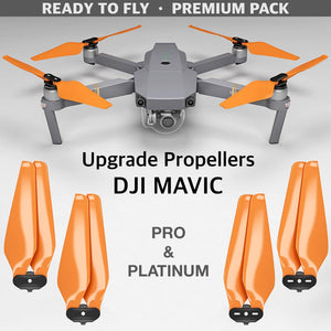 DJI Mavic Pro & Platinum STEALTH Upgrade Propellers - x4 Orange - Master Airscrew - Drone and Model Airplane Propellers