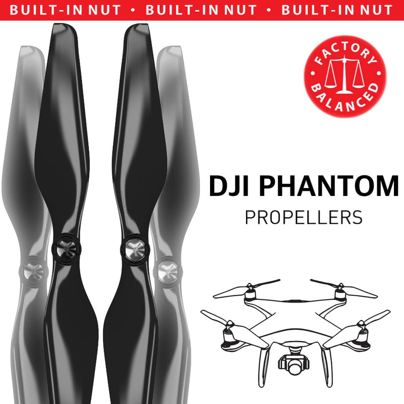 DJI Phantom 1-3 Upgrade Propellers - MR PH 9.4x5 Set x4 Black - Master Airscrew - Drone and Model Airplane Propellers