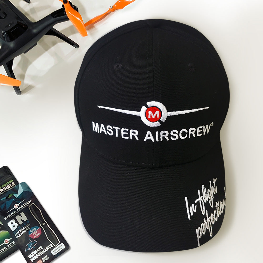 MAS Baseball Hat Black - Master Airscrew - Multi Rotor/ Model Airplane Propellers