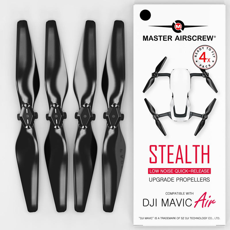 DJI Mavic Air STEALTH Upgrade Propellers - x4 Black - Master Airscrew - Drone and Model Airplane Propellers