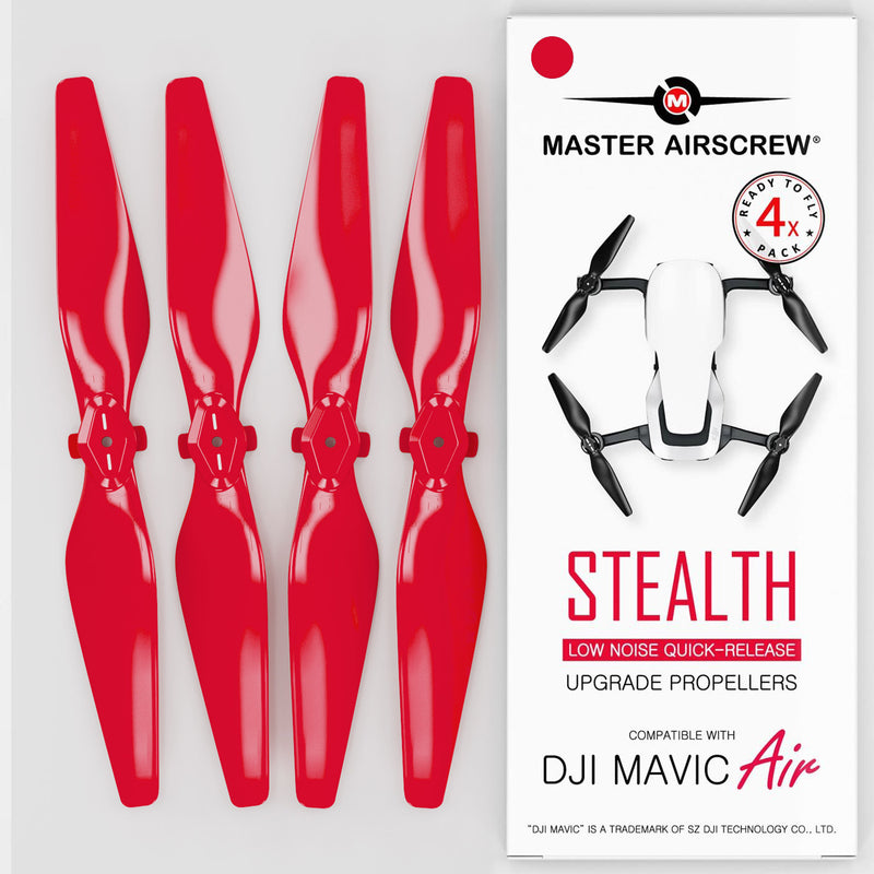 DJI Mavic Air STEALTH Upgrade Propellers - x4 Red - Master Airscrew - Drone and Model Airplane Propellers