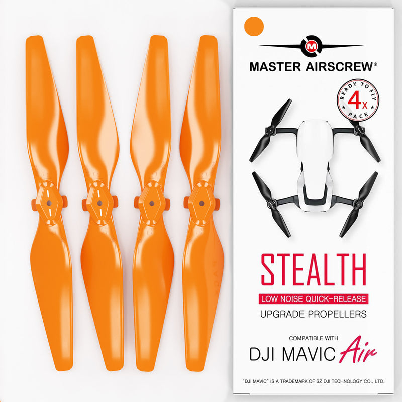 DJI Mavic Air STEALTH Upgrade Propellers - x4 Orange - Master Airscrew - Drone and Model Airplane Propellers