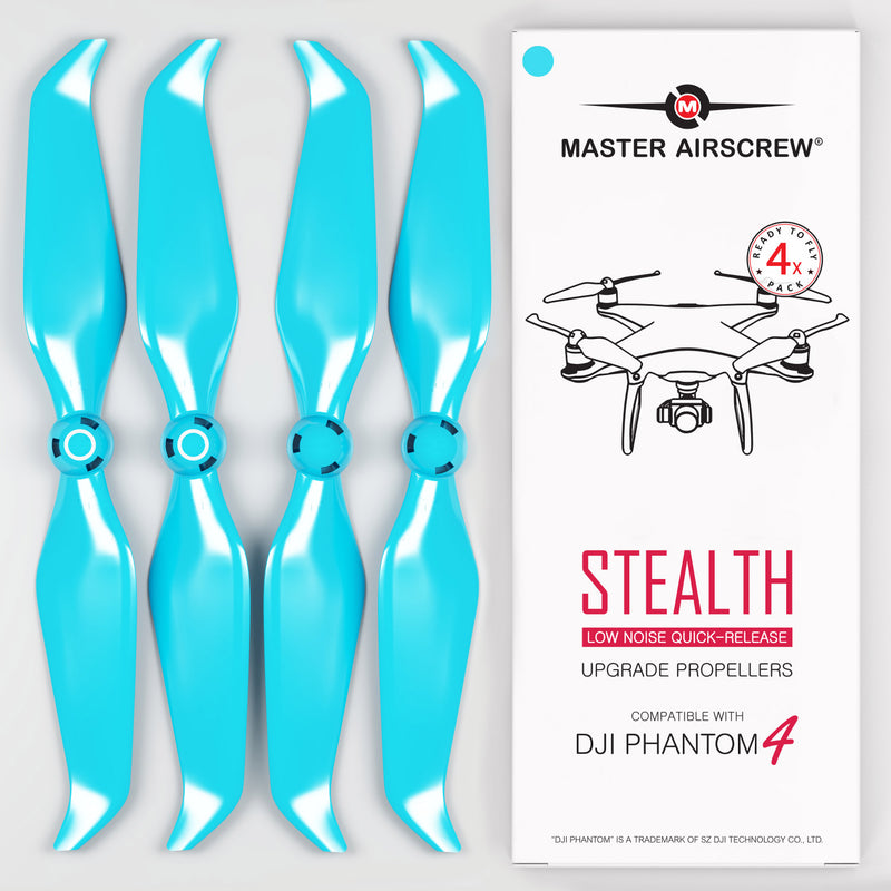 DJI Phantom 4 STEALTH Propellers - x4 Blue - Master Airscrew - Drone and Model Airplane Propellers