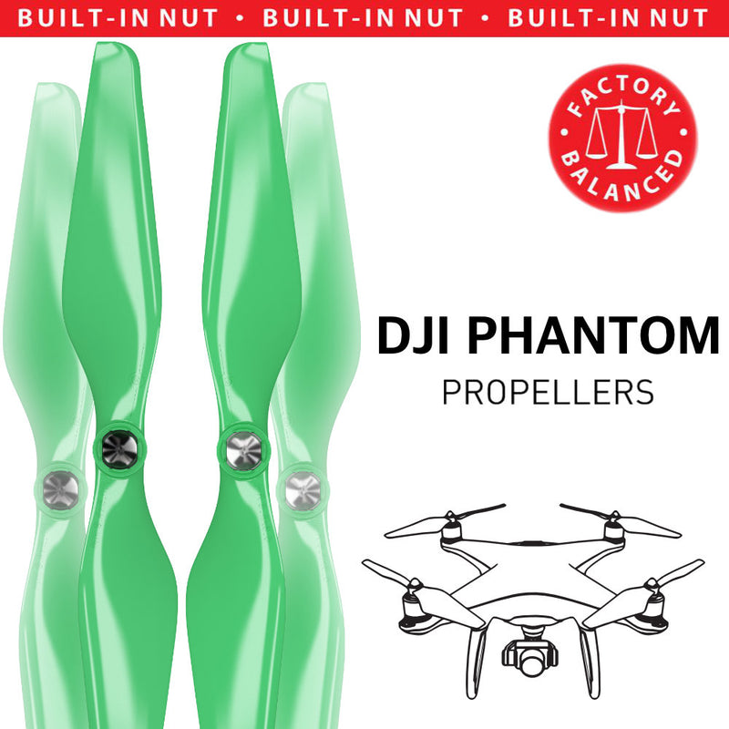 DJI Phantom 1-3 Upgrade Propellers - MR PH 9.4x5 Set x4 Green - Master Airscrew - Drone and Model Airplane Propellers