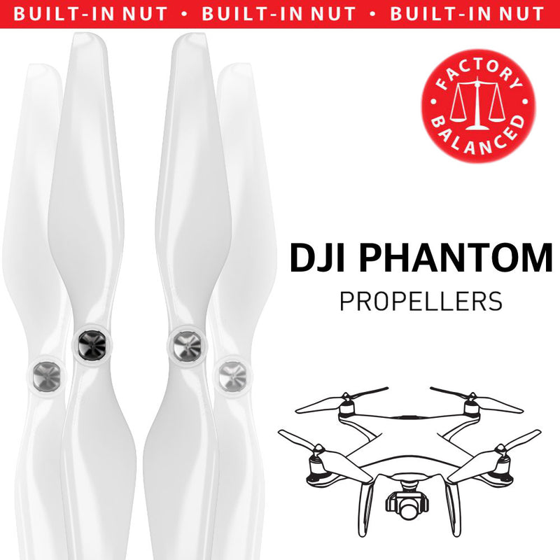 DJI Phantom 1-3 Upgrade Propellers - MR PH 9.4x5 Set x4 White - Master Airscrew - Drone and Model Airplane Propellers