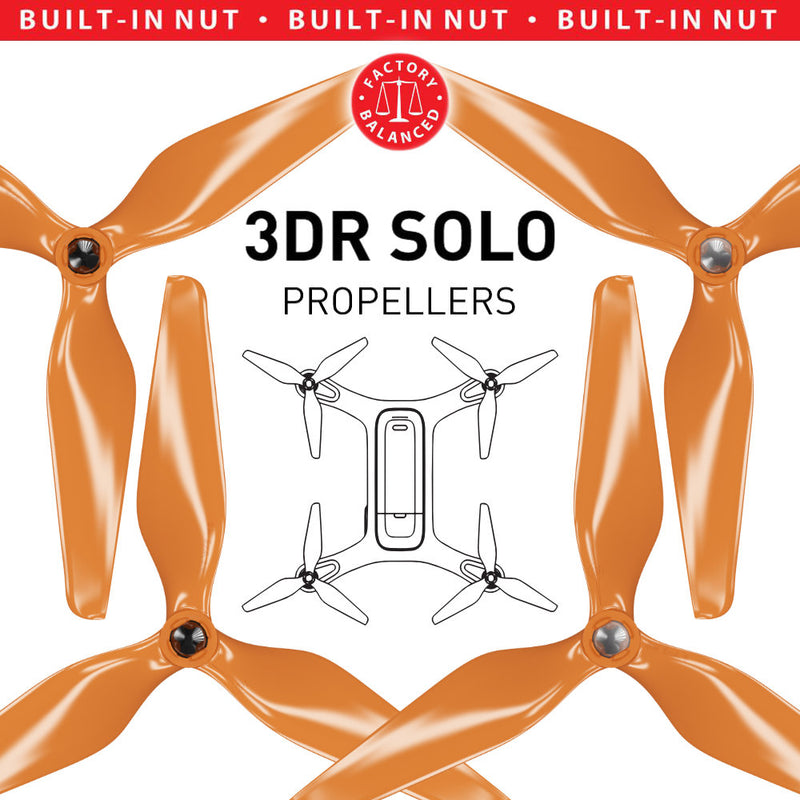 3DR Solo 3-Blade Upgrade Propellers - 3MR-SL - 9x4.5 Prop Set x4 Orange - Master Airscrew - Drone and Model Airplane Propellers