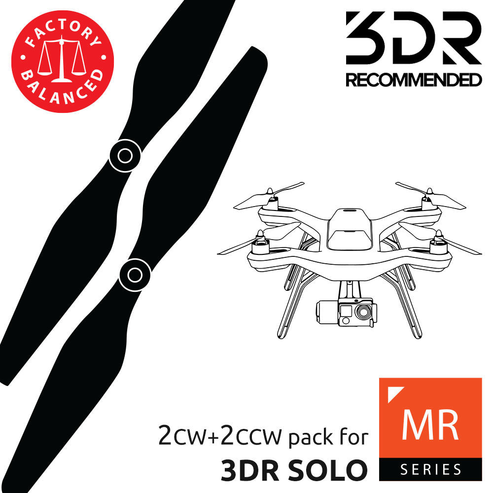 3DR Solo Upgrade Propellers - MR-SL- 10x4.5 Prop Set x4 Black - Master Airscrew - Multi Rotor/ Model Airplane Propellers