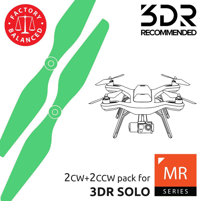 3DR Solo Upgrade Propellers - MR-SL- 10x4.5 Prop Set x4 Green - Master Airscrew - Multi Rotor/ Model Airplane Propellers