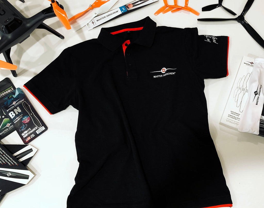 MAS POLO T-SHIRT Black/Red - Master Airscrew - Multi Rotor/ Model Airplane Propellers
