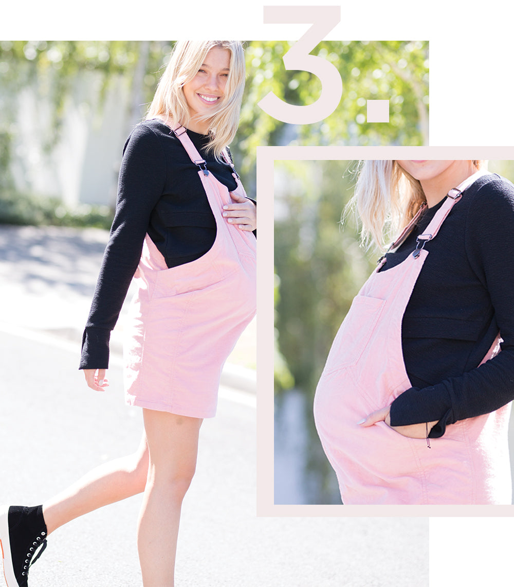 Black Maternity Crop Top with Maternity Pinafore
