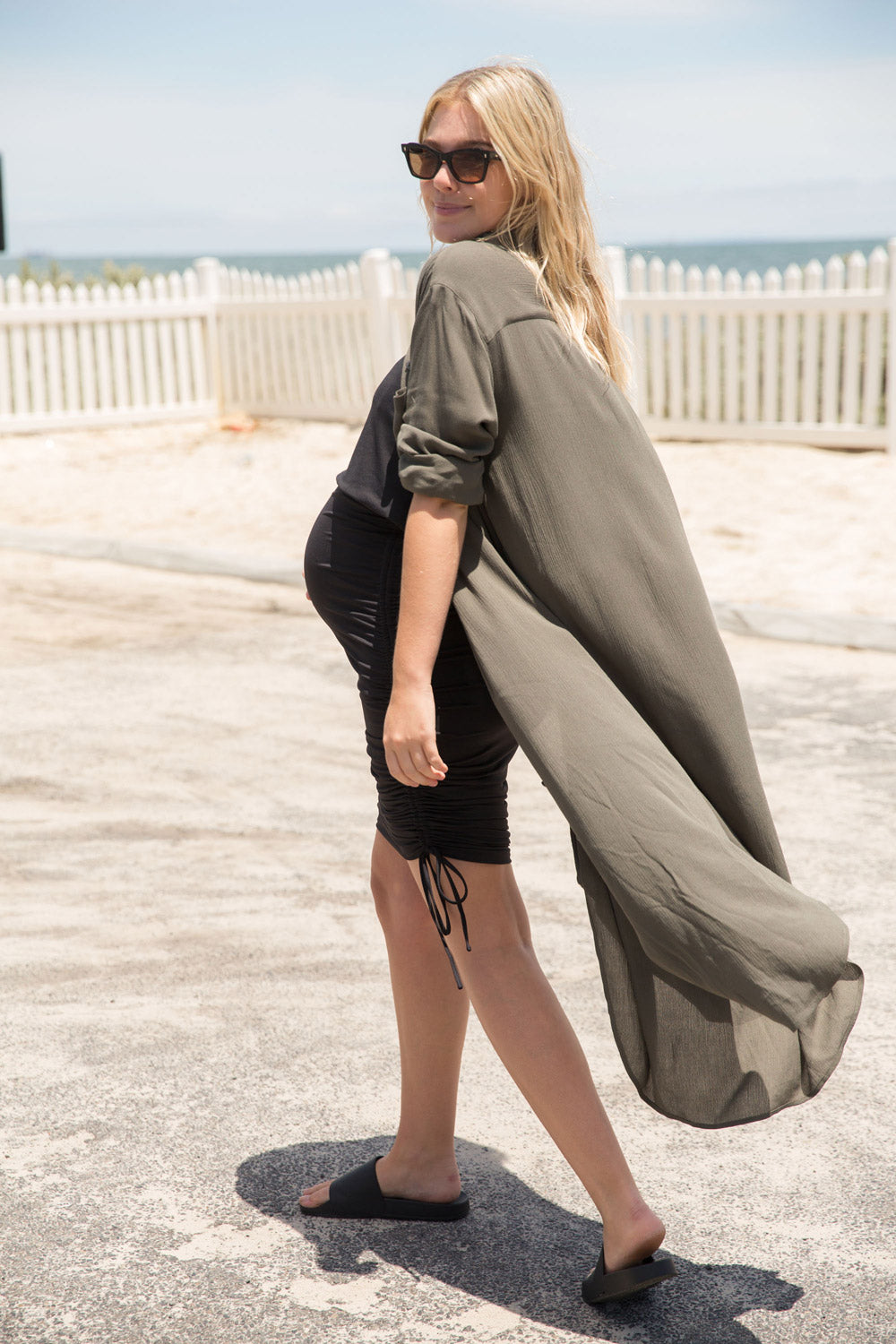 Maternity shirt dress khaki