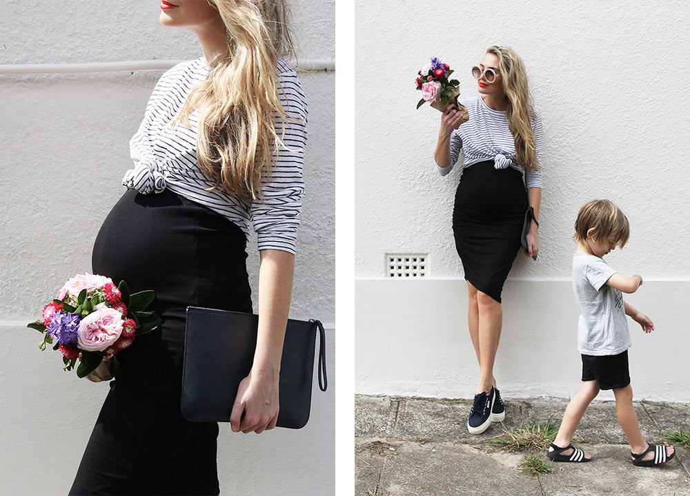 Black Maternity Skirt / Bae Stay Up Late Skirt