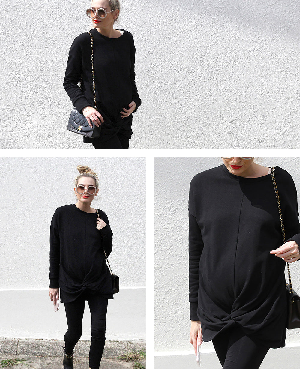 Black Maternity Sweat Top | Bae Twist Of Fate Sweater