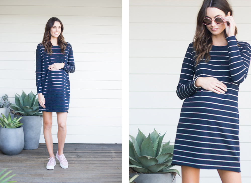 Navy Stripe Maternity Dress / Bae Walk The Line LS Dress