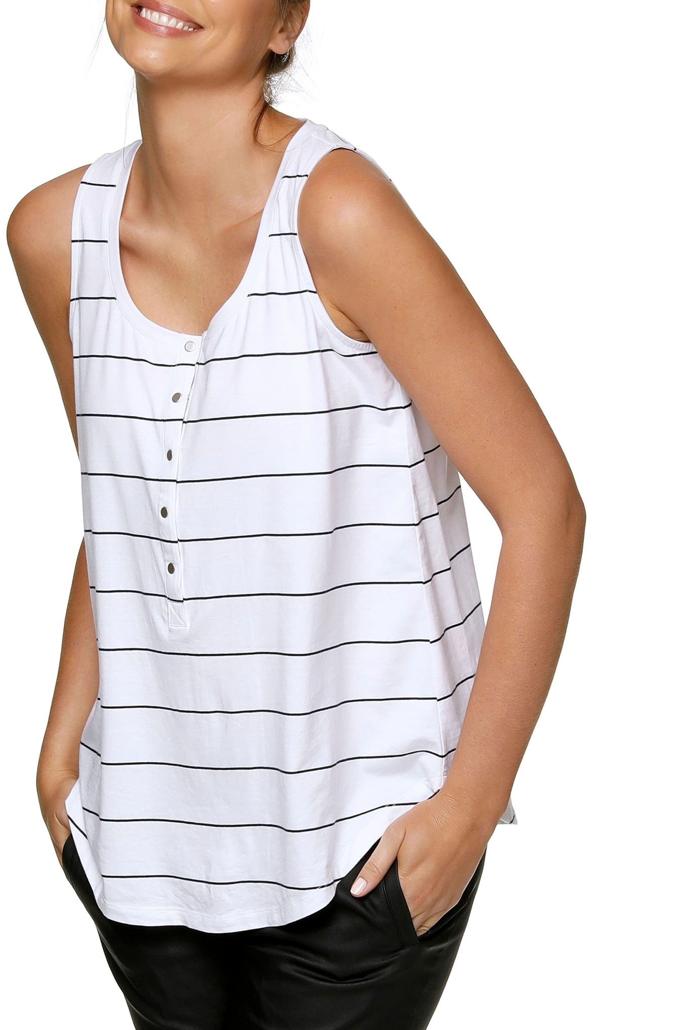 Maternity + Nursing Tank Top - White Stripe 9