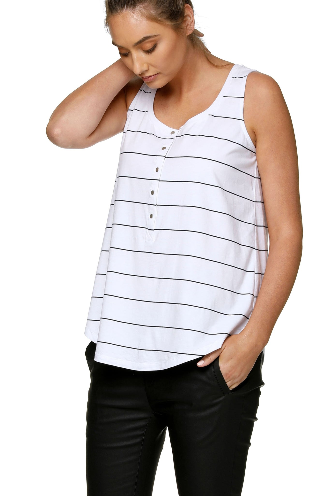 Maternity + Nursing Tank Top - White Stripe 6