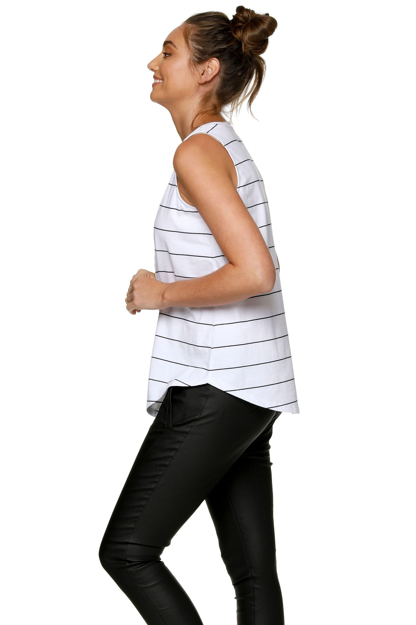 Maternity + Nursing Tank Top - White Stripe 7