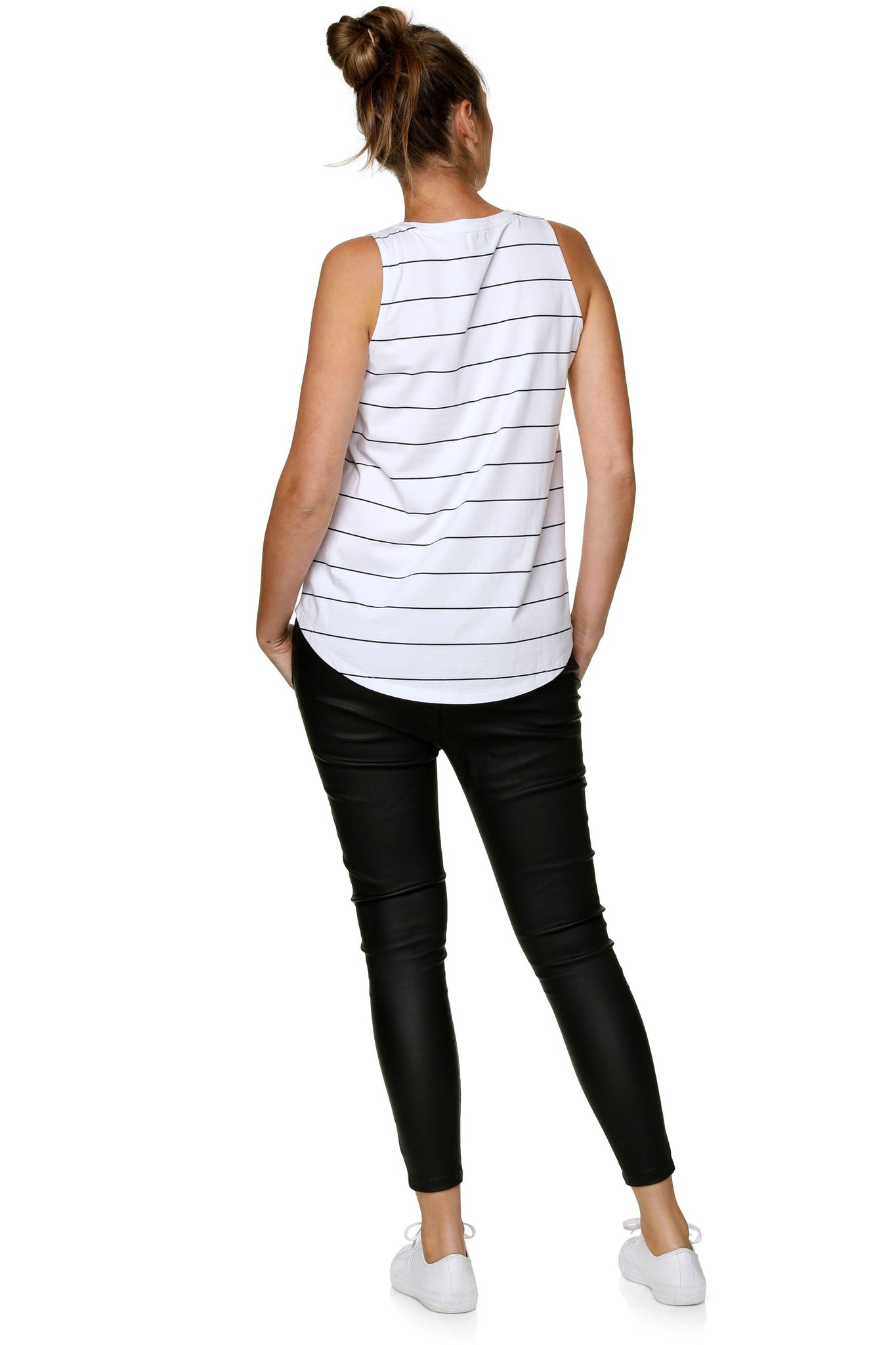 Maternity + Nursing Tank Top - White Stripe 8