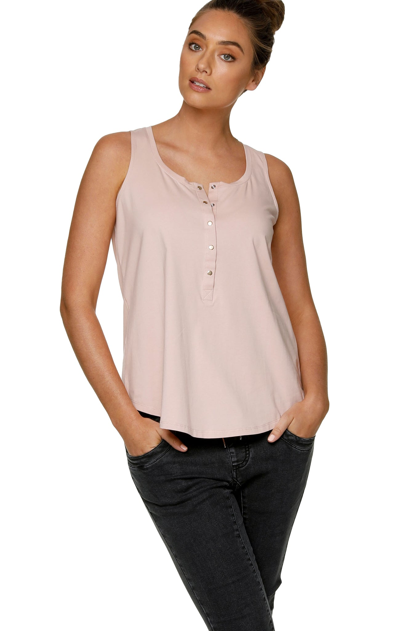 Maternity + Nursing Tank Top - Pink 6