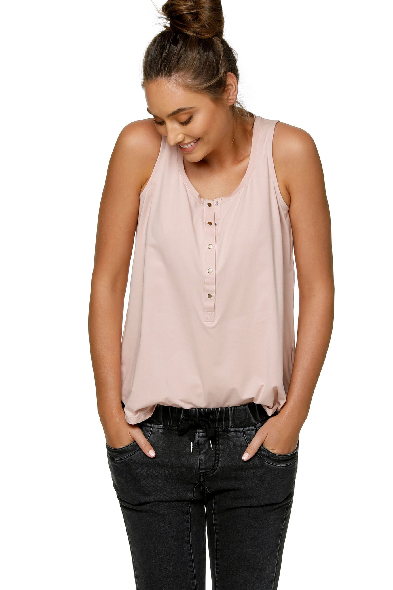 Maternity + Nursing Tank Top - Pink 9