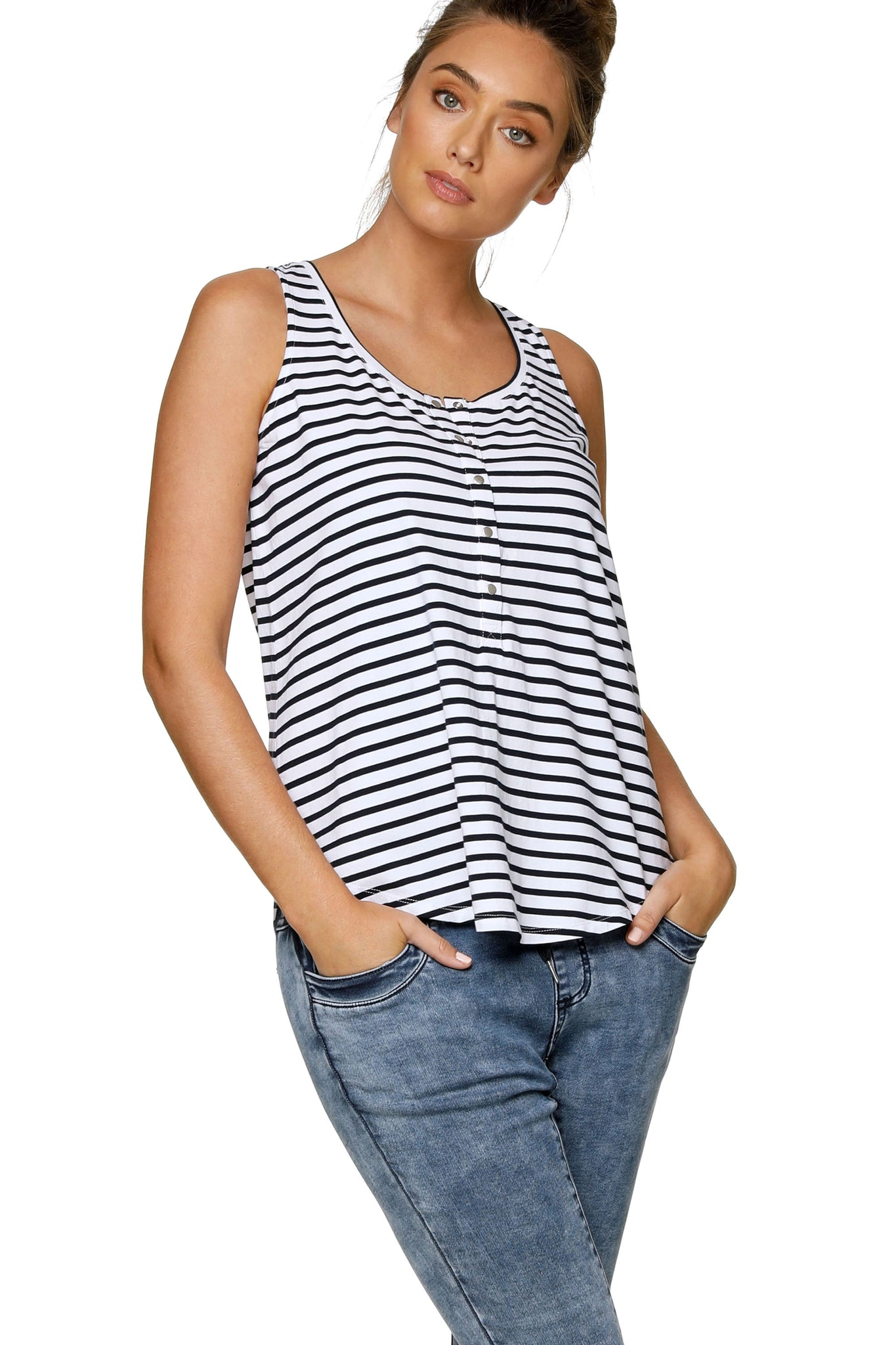 Maternity + Nursing Tank Top - Stripe 6