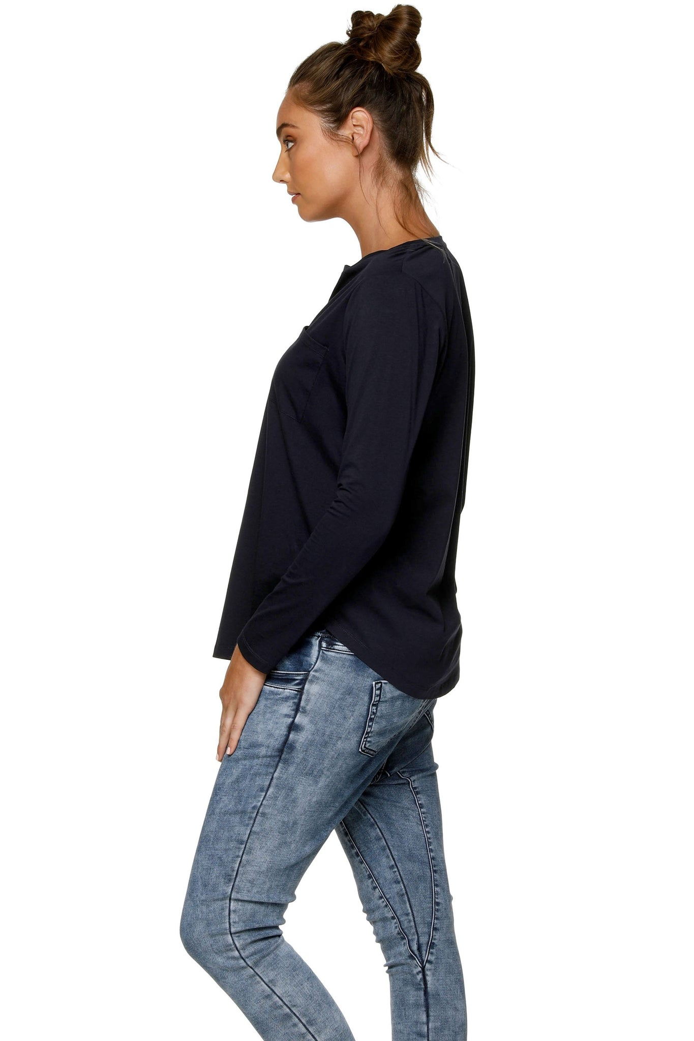 Maternity + Nursing Long Sleeve Top - Navy 6