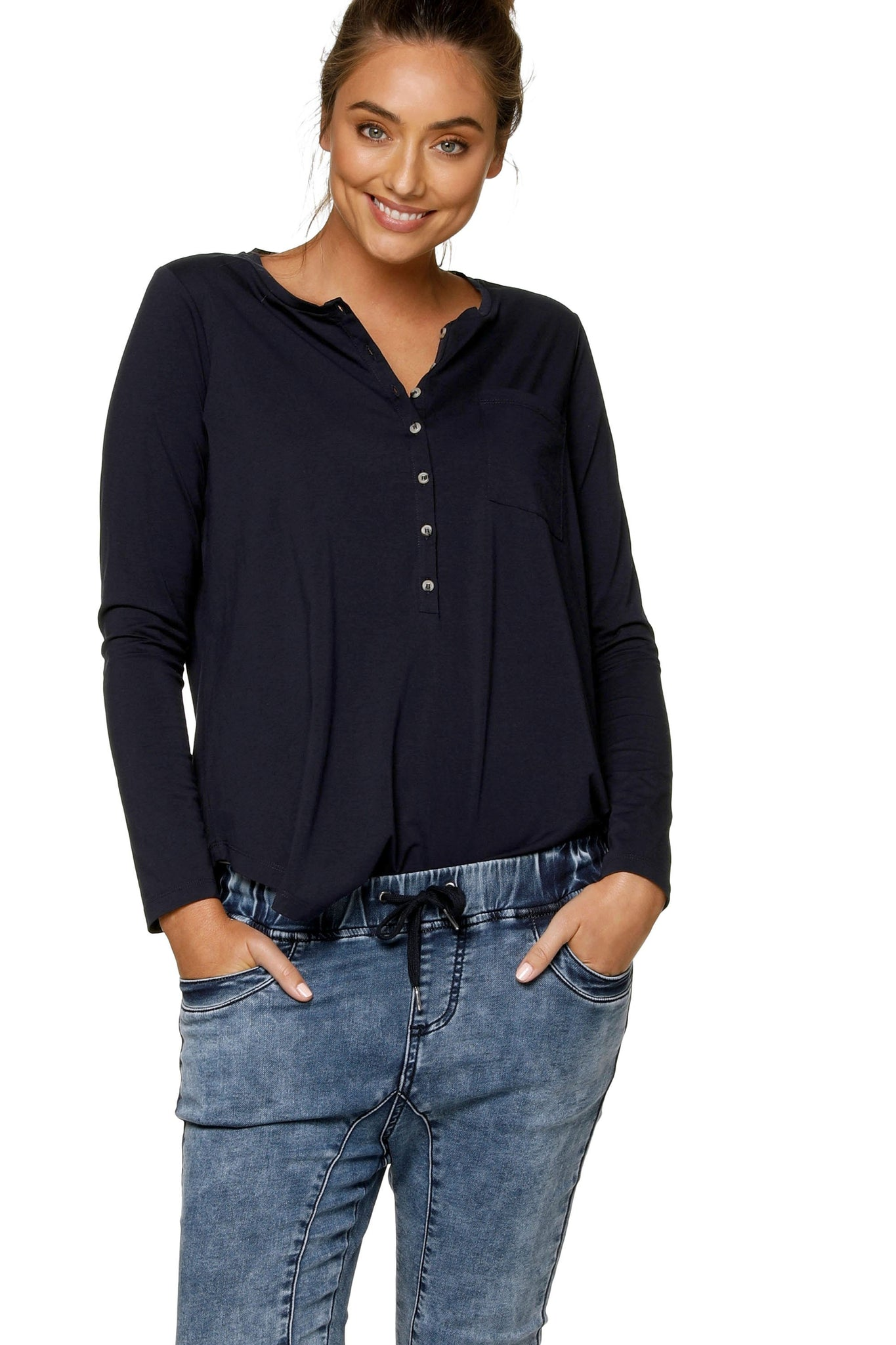Maternity + Nursing Long Sleeve Top - Navy 9
