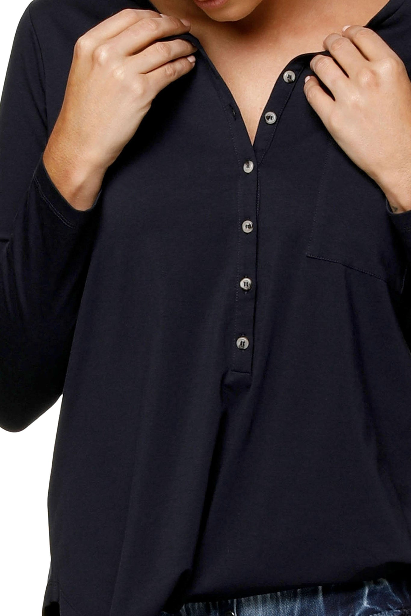 Maternity + Nursing Long Sleeve Top - Navy 8