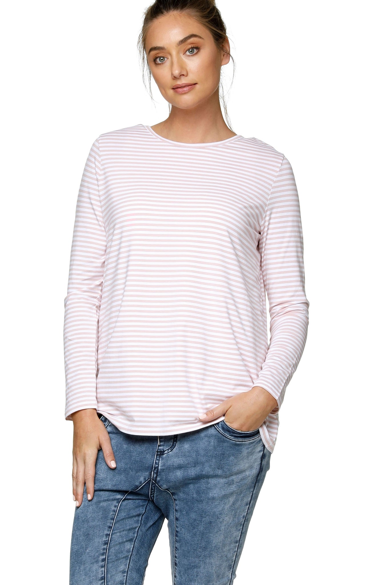 Pink Stripe Long Sleeve Maternity Top 11