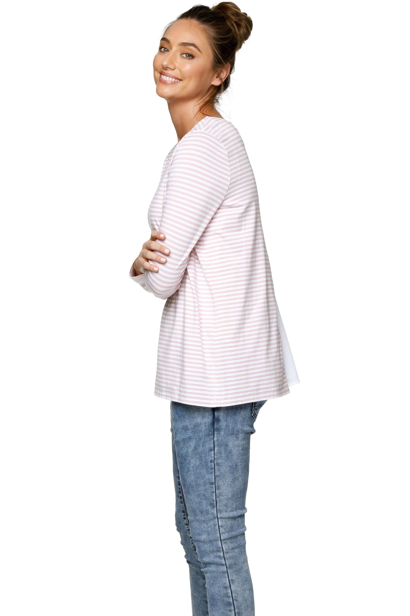 Pink Stripe Long Sleeve Maternity Top 9