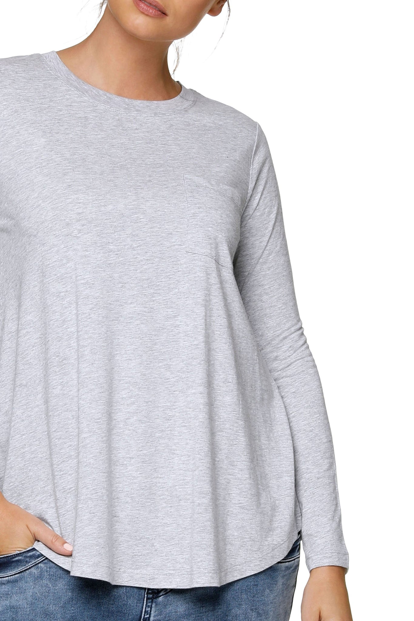 Maternity Long Sleeve Top - Grey Marle 10