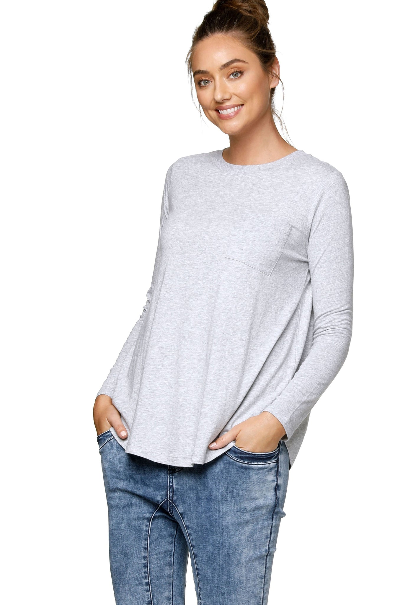Maternity Long Sleeve Top - Grey Marle 8