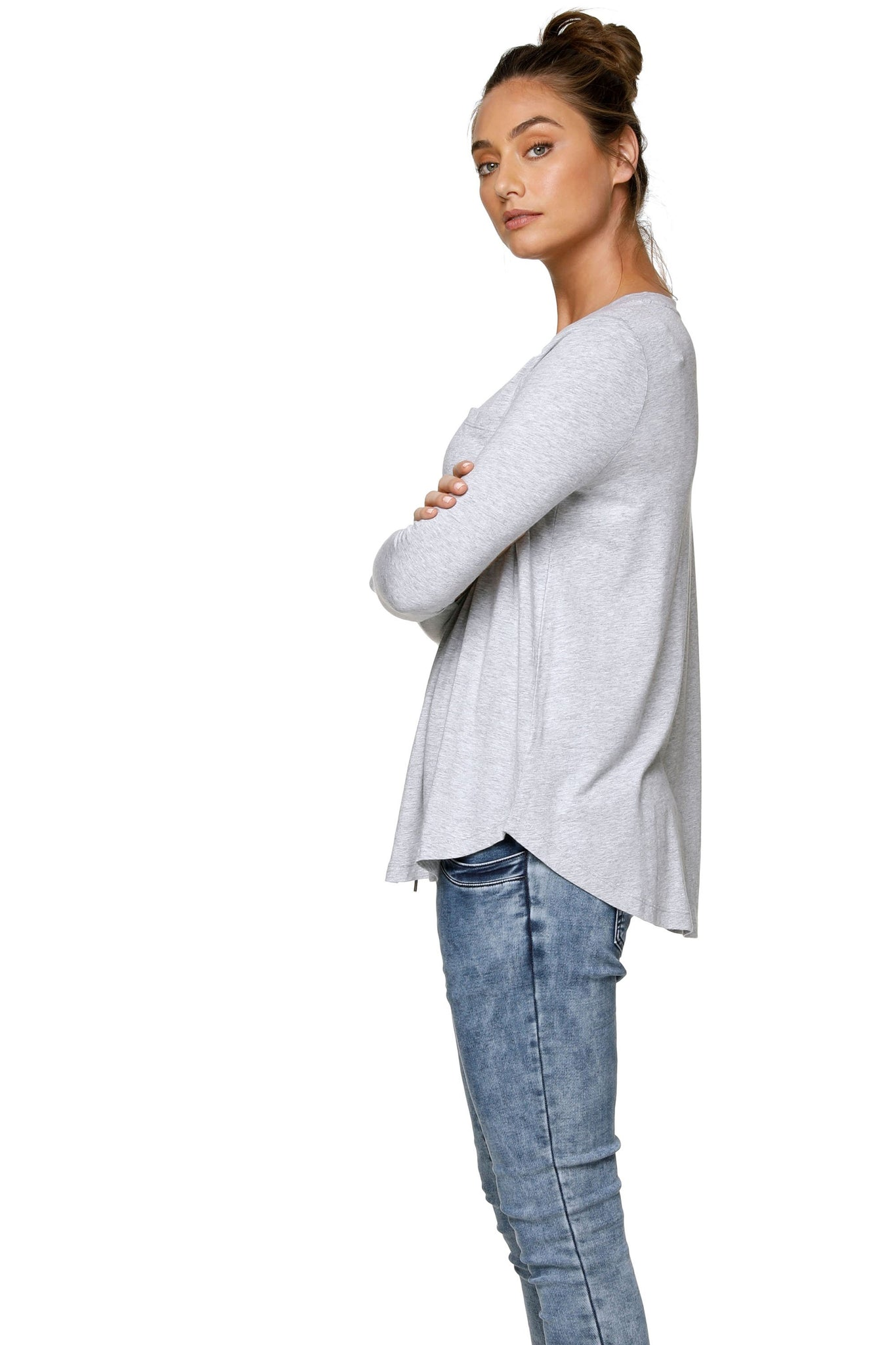 Long Sleeve Maternity Top - Grey 10